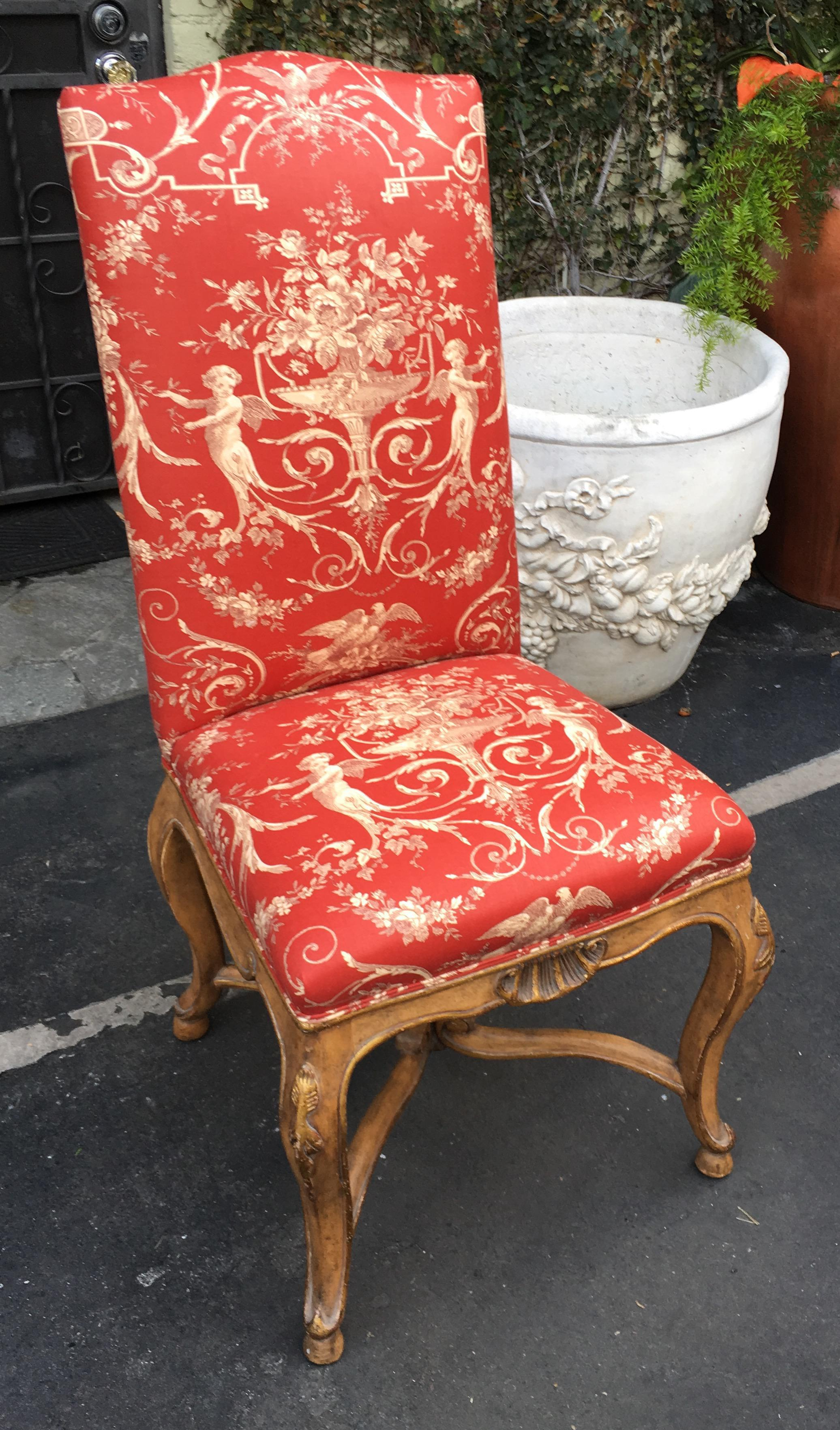 Minton Spidell Lu0027Avant Side Chair W Dessin Fournir Red Toile   Image 2 Of
