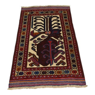 Traditional Turkish Tribal Brown and Ruby Red Wool Kilim Rug