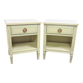 Louis XVI Cream & Turquoise Painted Nightstands - a Pair For Sale