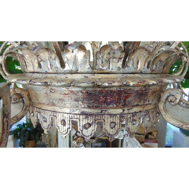 Large Silvered Iron and Rock Crystal, Eight-Arm Chandelier For Sale - Image 9 of 11