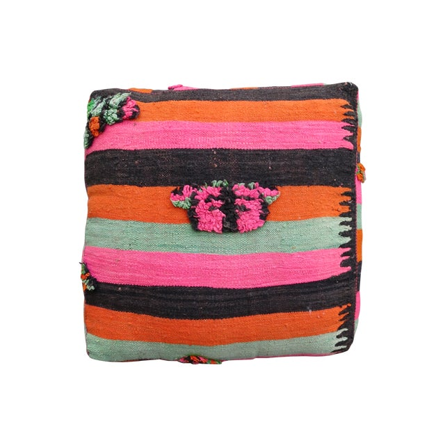 Pink Striped Moroccan Floor Pillow - Image 1 of 4