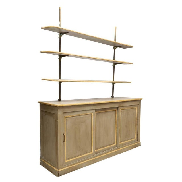 19th Century Louis Philippe Gray Painted Shelved Cabinet For Sale In Denver - Image 6 of 6
