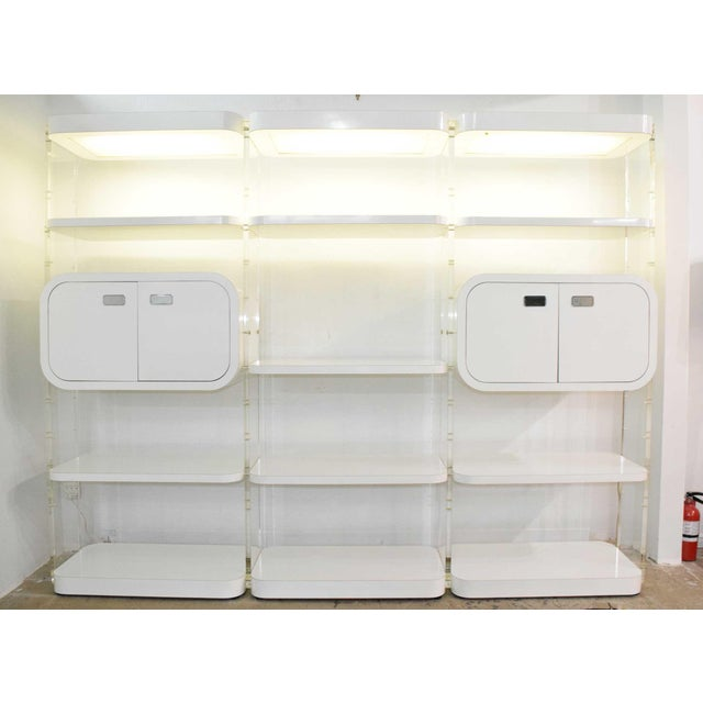 1970s White Lacquer Bookcases or Storage Unit After Pace Collection or Milo Baughman For Sale - Image 13 of 13