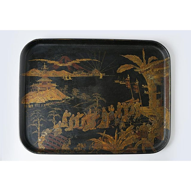 Paint Chinorisie Lacquer Tray For Sale - Image 7 of 7