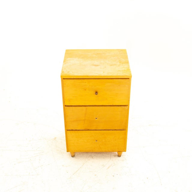 Wood Paul McCobb Style Mid Century 3 Drawer Nightstand For Sale - Image 7 of 9