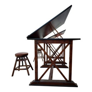 Art Nouveau Walnut Architect's Drafting Table With Chair - 2 Pieces For Sale
