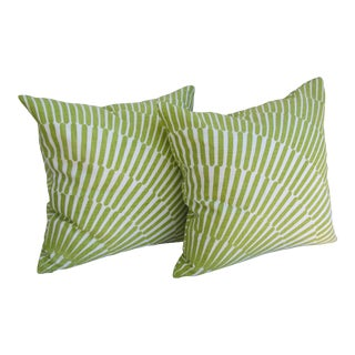 Pair of Green and White Throw Pillows For Sale