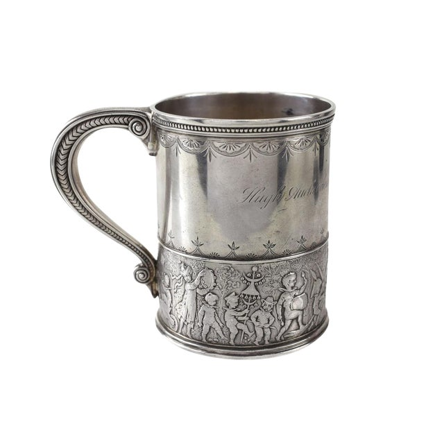 Tiffany & Co. Sterling Silver Child's Cup, Circa 1875. Hand Chased Marching Band For Sale