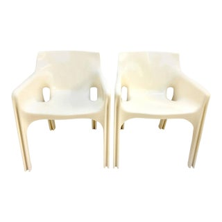"1970's Vico Magistretti ""Gaudi"" Molded Fiberglass Chairs - A Pair"