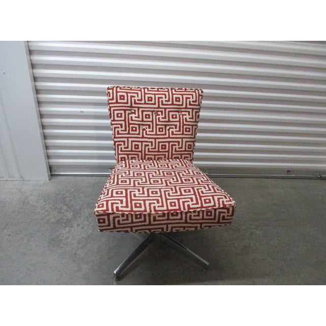 Mitchell Gold + Bob Williams Red and Natural Swivel Armless Upholstered Chair For Sale In Miami - Image 6 of 6