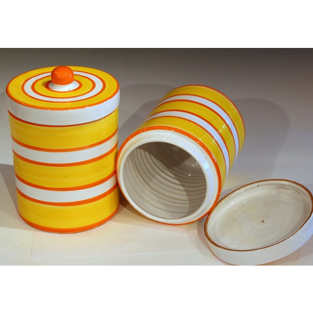 Italian Italian Pottery Stripes Vintage Raymor Canisters - a Pair For Sale - Image 3 of 12