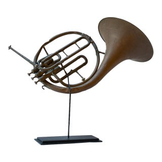 Vintage French Horn on Stand For Sale