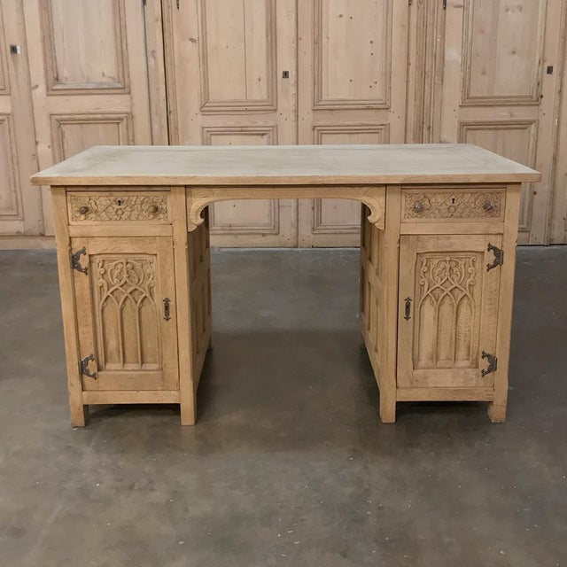 antique stripped oak partner s desk decaso 87990