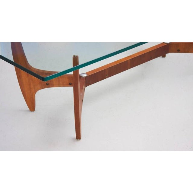 Mid-Century Modern Large Brazilian Midcentury Coffee Table with Thick Glass Top For Sale - Image 3 of 8