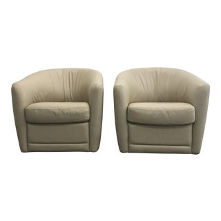 Natuzzi Leather Swivel Barrel Chairs - a Pair For Sale