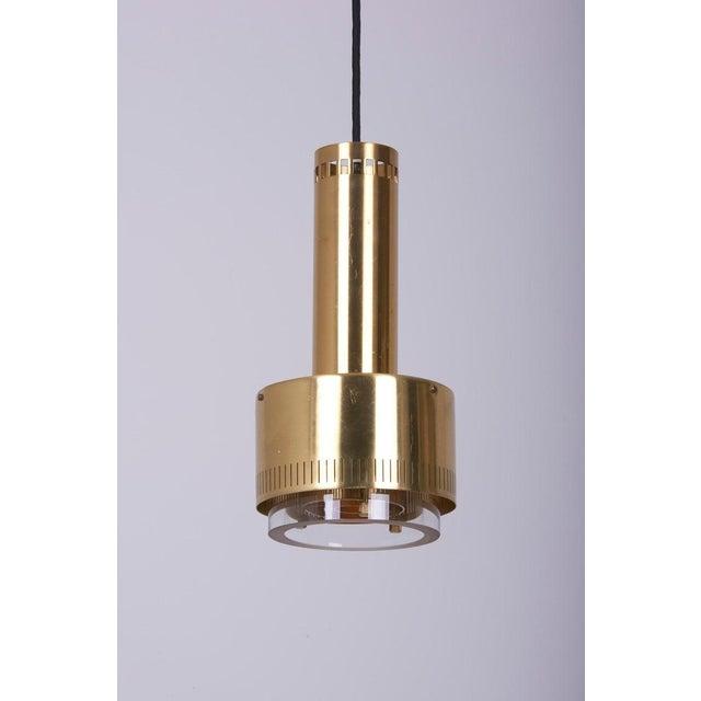 Lyfa Pair of Kay Korbing for Lyfa Brass and Glass Pendants, Denmark, 1960s For Sale - Image 4 of 9