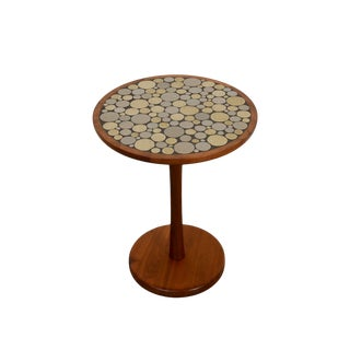 "Marshall Studios Mid-Century Modern ""Martz"" Ceramic and Walnut Side Table For Sale"