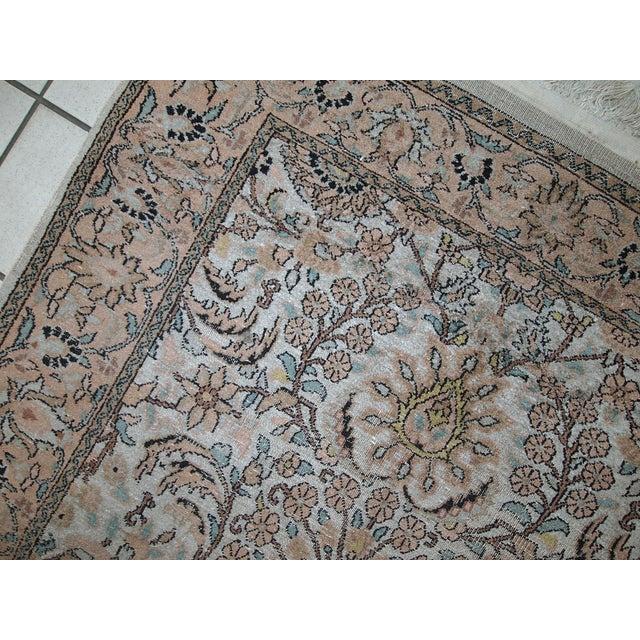 Traditional Vintage Silk Indian Indo-Tabriz Rug - 3′2″ × 5′3″ For Sale - Image 3 of 10