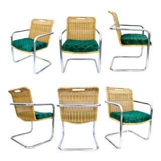 Set of 6 Cantilever Steel & Wicker Chairs | Vintage Chromcraft Dining Chairs | Emerald Green Quatrefoil Upholstery For Sale