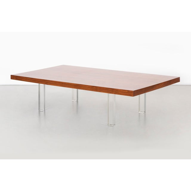 Milo Baughman Rosewood and Lucite Coffee Table For Sale - Image 10 of 10