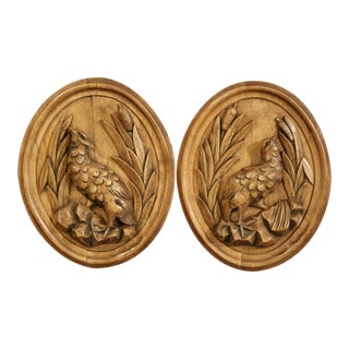 Pair of 19th Century French Black Forest Carved Oval Wall Hanging Bird Plaques For Sale