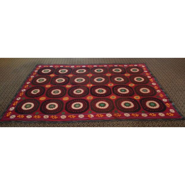 Big Size Colorful Suzani Bedspread - Image 5 of 6