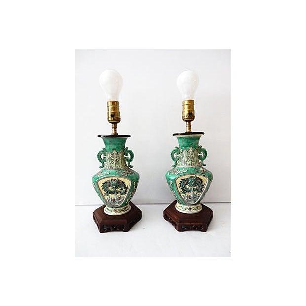 19th C. Porcelain Dragons Lamp - Pair - Image 5 of 10
