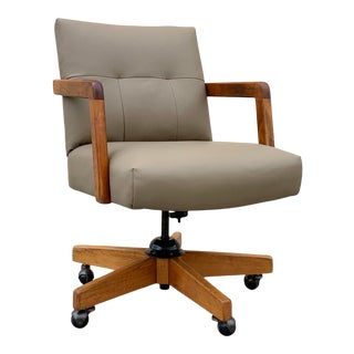 Leather and Oak Executive Office Chair by Gordon Manufacturing Co. For Sale