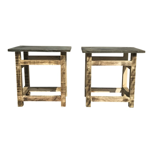 Rustic Handcrafted Oak & Shale Side Tables - a Pair For Sale