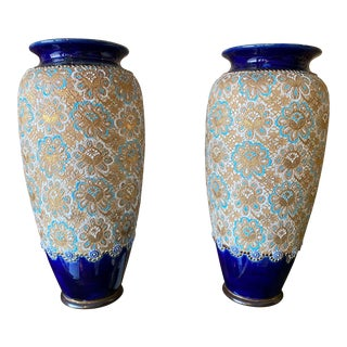 English Royal Doulton Vases - a Pair For Sale