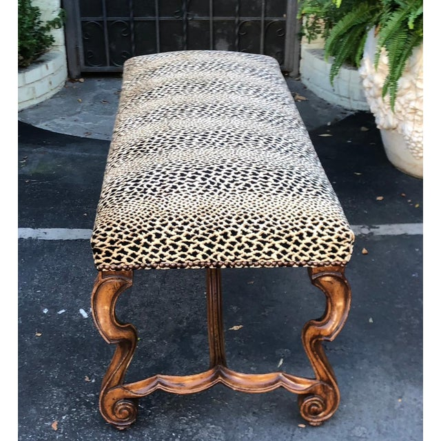 Clarence House Cheetah - Style Carved Italian Walnut Bench by Randy Esada Designs for Prospr