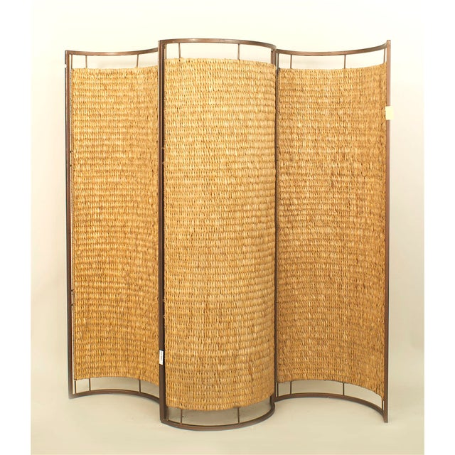 Contemporary Italian Mid-Century Three Concave Panel Woven Rattan Screen For Sale - Image 3 of 3