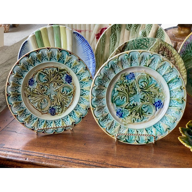 Mixed pair of 19th century French Majolica aqua leaf plates one with a black rim and the other with white. 19th Century,...