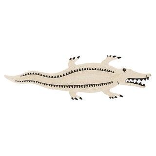"Modern Schumacher Charlap Hyman & Herrero Crocodrilo Crocodile Natural Abaca Rug 9'2"" X 2'7"" For Sale"