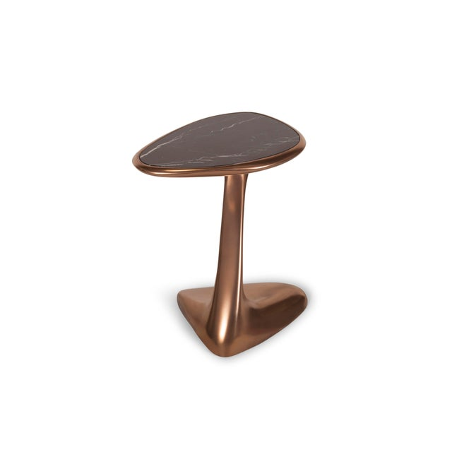 Metal Palm Side Table in Bronze Finish With Black Marble Top For Sale - Image 7 of 9