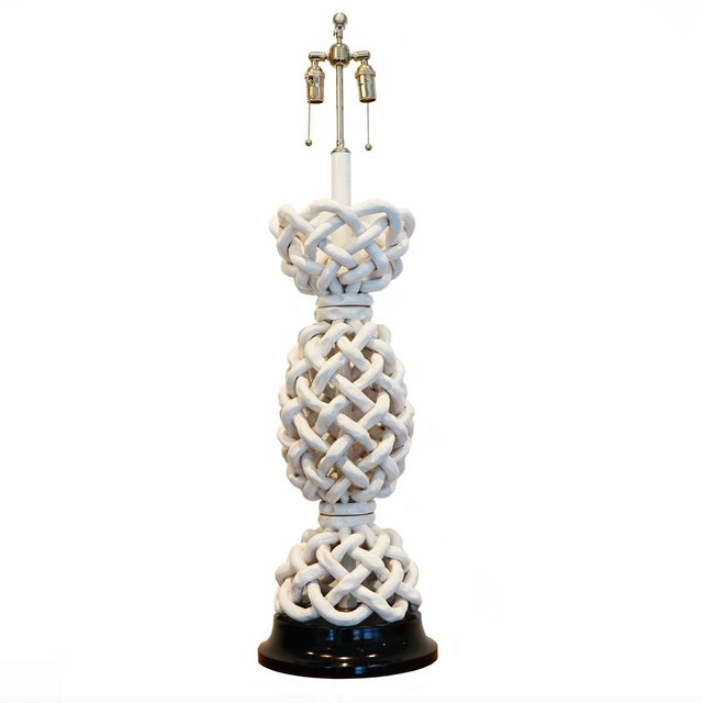 Mid 20th Century Italian Basket Weave Table Lamp For Sale - Image 5 of 5