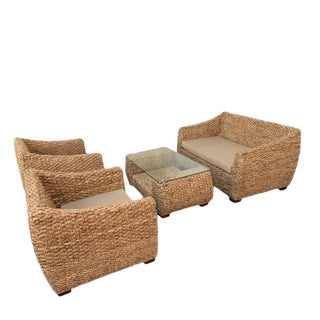 Modern Ubud Rattan Set- 4 Pieces For Sale