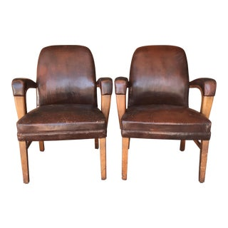 Distressed Leather Side Chairs - a Pair