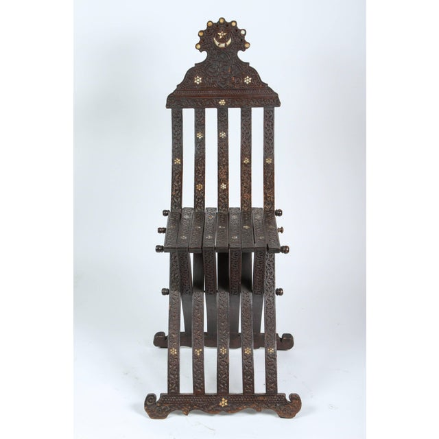 Mid 19th Century 19th Century Antique Syrian Wood Inlaid Folding Chair For Sale - Image 5 of 9