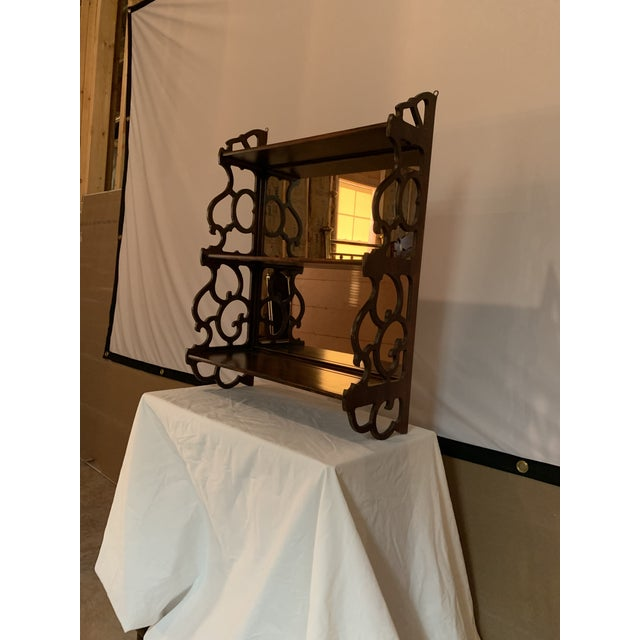 Antique Chippendale Carved Mahogany 3 Tier Wall Hanging Display Rack For Sale - Image 4 of 12