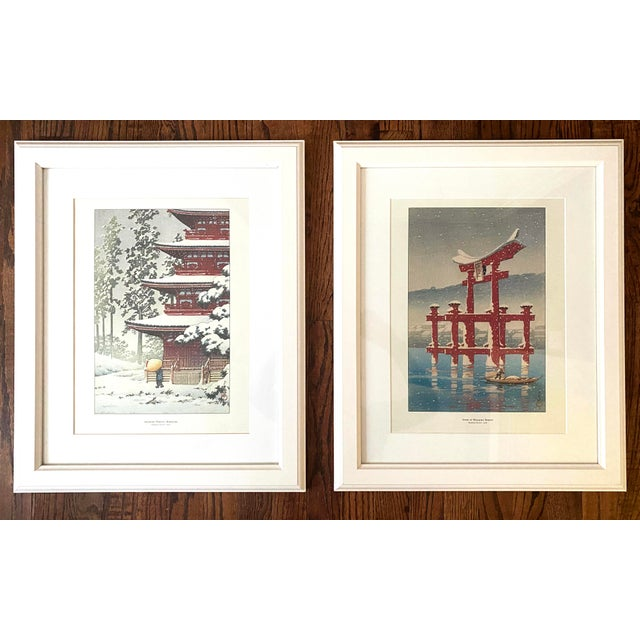 Framed Japanese Woodblock Reproduction Prints After Kawase Hasui - Set of 2 For Sale - Image 12 of 12