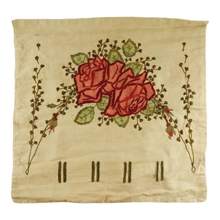 Circa 1910 Hand Embroidered Roses Pillow Cover For Sale