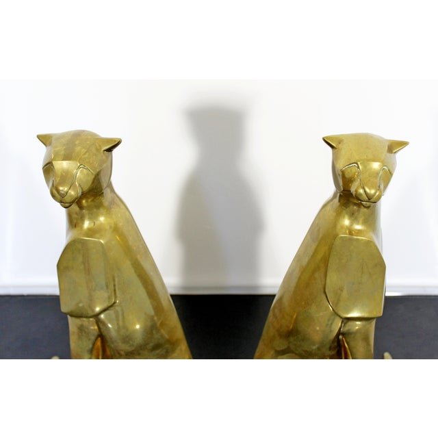 1960s Mid Century Modern Pair of Bronze Brass Cheetah Cat Table Sculptures For Sale - Image 5 of 12