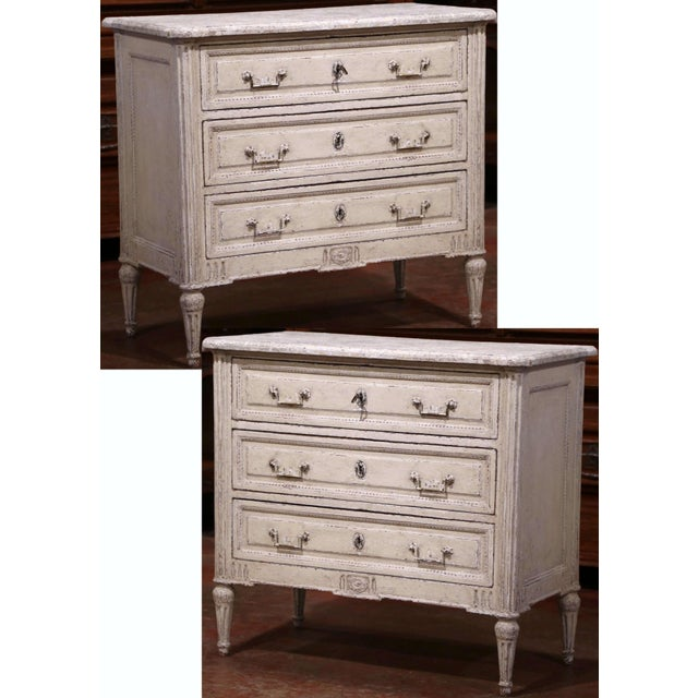 Pair of 19th Century Louis XVI Carved Painted Commodes With Faux Marble Top For Sale - Image 10 of 10