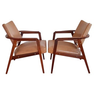 1950s Mid Century Sigvard Bernadotte Inspired Lounge Chairs - a Pair For Sale