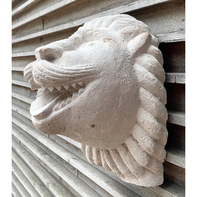 Whimsical large 1950s cast stone late Art Deco or modernist lion head wall sculpture. Charming details, and great focal...