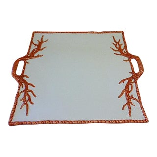 Italian Pottery Natural Coral Serving Tray For Sale