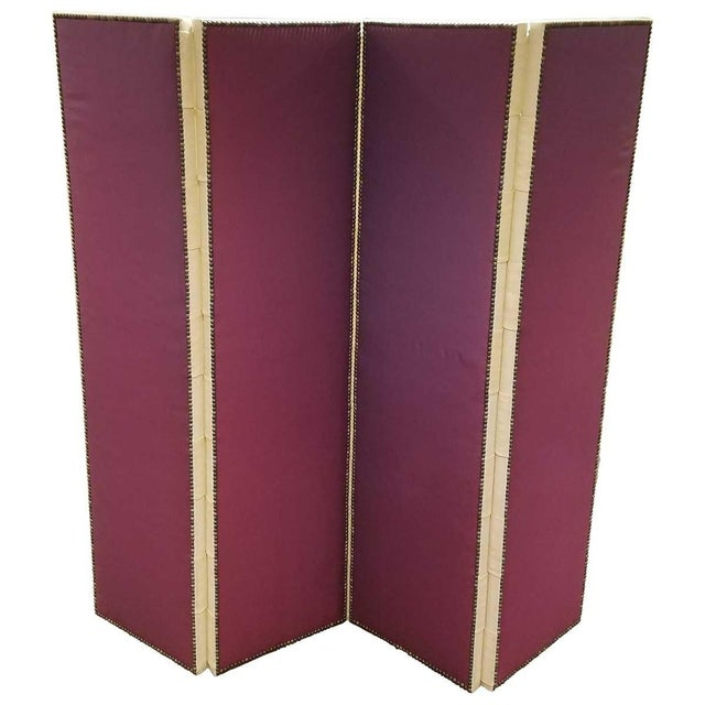 Red John Saladino Four-Panel Fabric Folding Screen With Nailhead Detail For Sale - Image 8 of 8