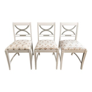 Modern Neutral Geometric Dining Chairs - Set of 3 For Sale