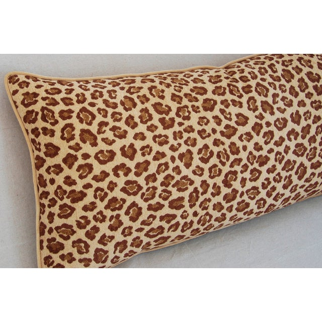 """Feather Leopard Velvet Lumbar Body Feather/Down Pillow 38"""" x 17"""" For Sale - Image 7 of 10"""